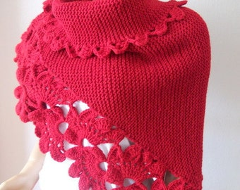 Beautiful Triangle Red Shawl