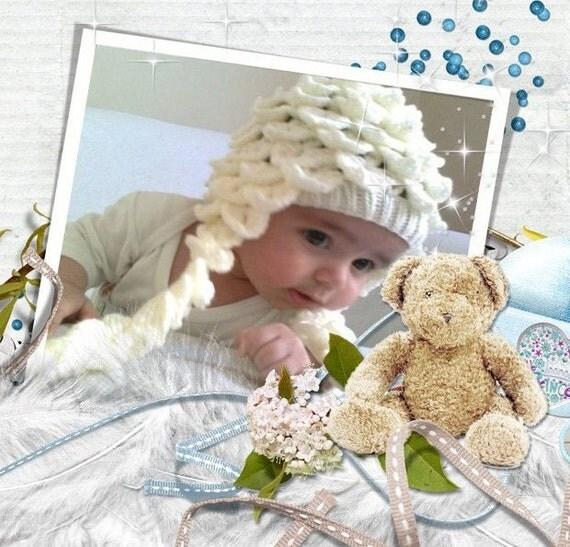 Crocodile Stitch Ecru Baby Hat - for Baby or Toddler