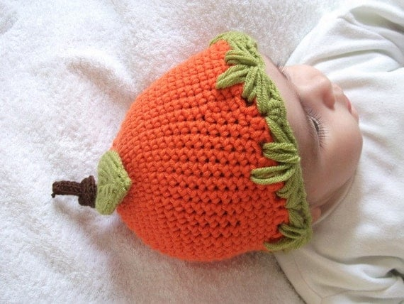 Crocheted Little Pumpkin Baby  Hat  - Orange/ Green-for Baby or Toddler-baby halloween outfits