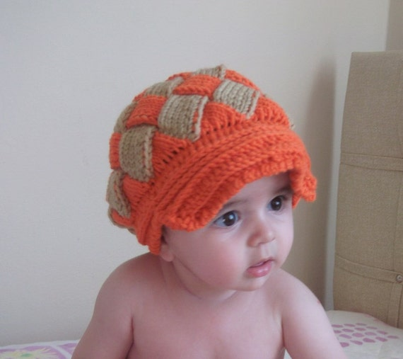 Orange and Beige Slouchy Newsboy Cap - Handmade-Knitted newsboy slouch hat (1-2 years)