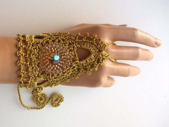 1 pair golden cuff bracelet-Golden lace gloves,Crochet lace,cuffs, fingerless gloves, lace gloves,Bead embroider,Luminoused