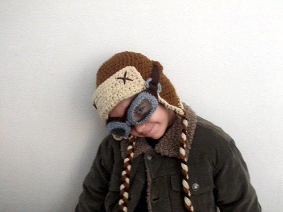 Crochet Aviator Hat Set with Goggles - tan and beige-Photo Prop - for baby or children