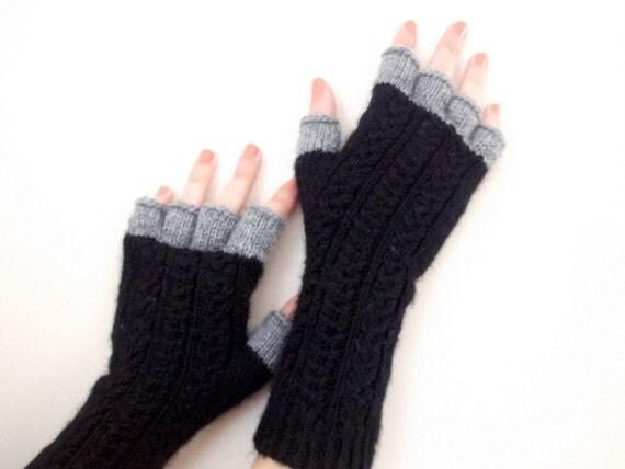 Black and Gray Half Finger- Fingerless Gloves