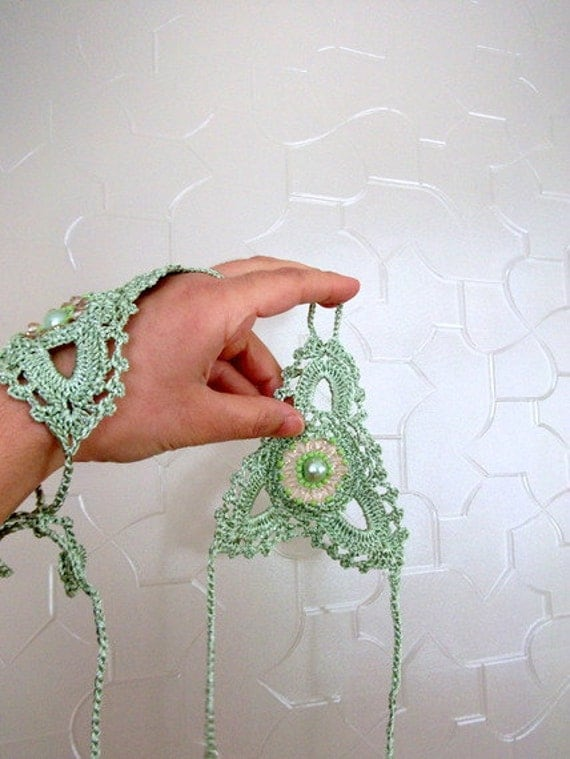 Mint Water Green lace gloves,Crochet lace,cuffs,arm cuff, fingerless gloves, lace gloves,Bead embroider,Luminoused
