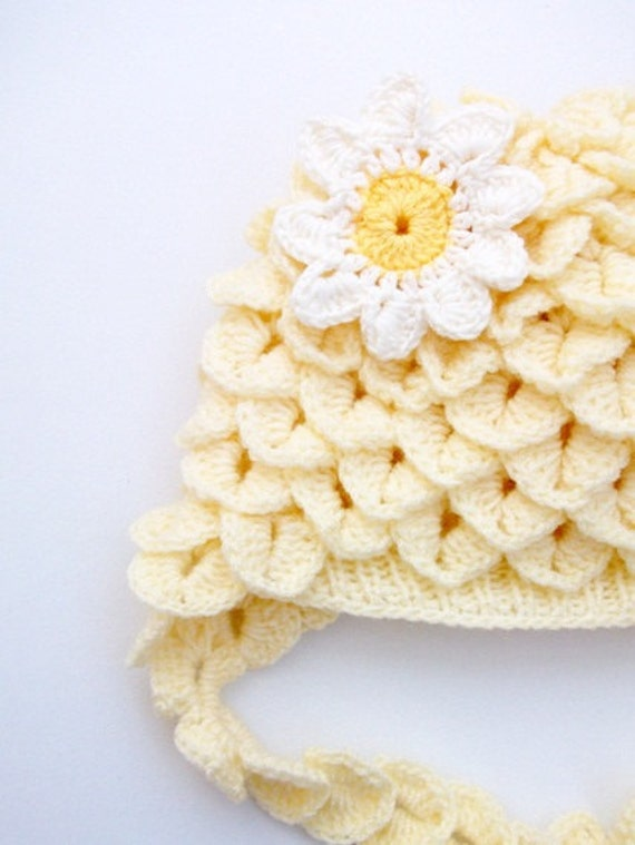 Cream Crocodile Stitch Baby Hat - for Baby or Toddler