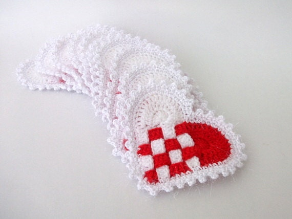 White and Red Heart Appliques