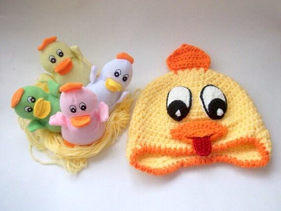 Cheerful chick hat -Baby Chick Hat Photo Prop -Easter Hat-Newborn Baby Chick Spring Hat-Original Design, Children Animal Hat-Girl or Boy Hat