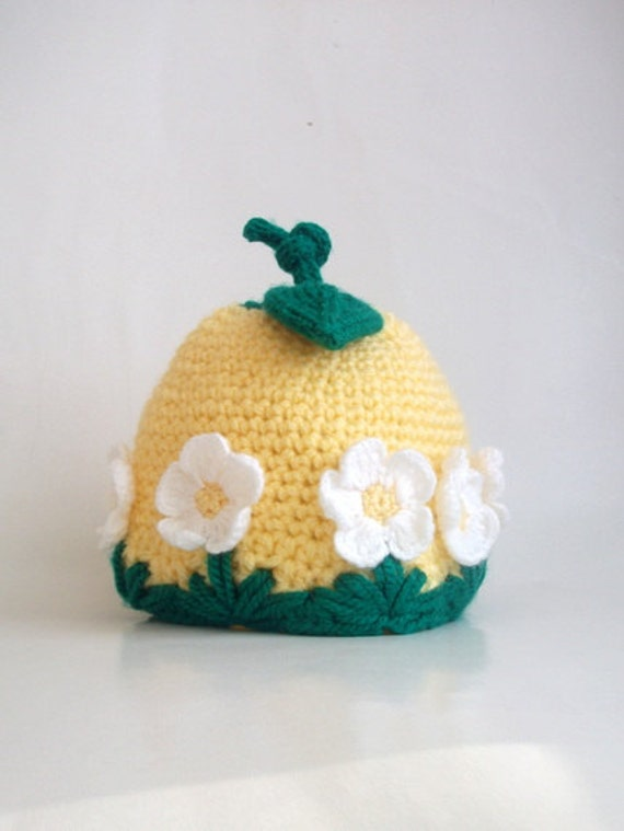 Crocheted Baby Hat with Daisy - Yellow/ Green-for Baby or Toddler-Baby Girl Hat