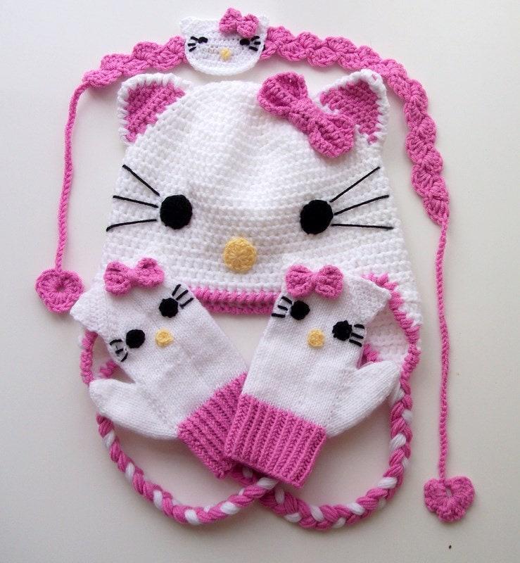 Crochet Kitty Hat : Crochet Kitty Hatkitty mittenhair band for Baby by myknittingworld