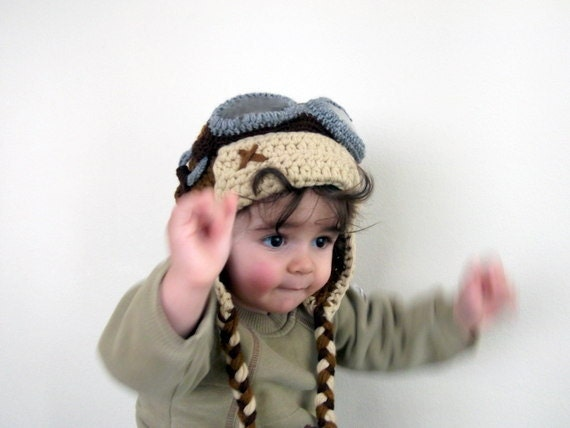 Crochet Aviator Hat Set with Goggles tan and beige for baby