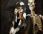 Skull scarf - goth fashion - hand painted
