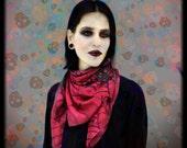 Goth silk scarf with black skulls