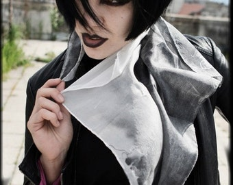Silk scarf  - ombre hand painted black and white