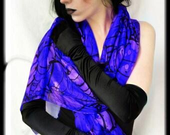 Gothic silk scarf - royal blue - alternative fashion