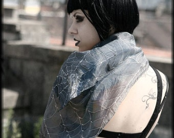 Hand-painted silver scarf with spider web - gothic fashion