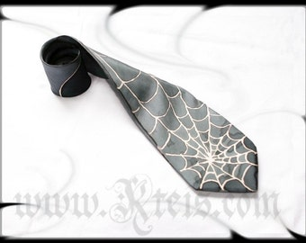 Steampunk silk tie, silver spiderweb, mens fashion