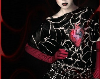 Goth dress - anatomical heart - hand painted silk tunic