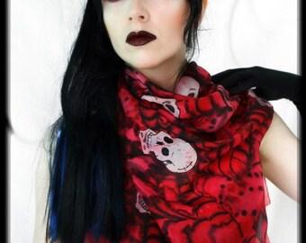 Gothic skull scarf -designer fashion - hand painted silk scarf