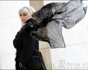 Black goth silk scarf with white spider web