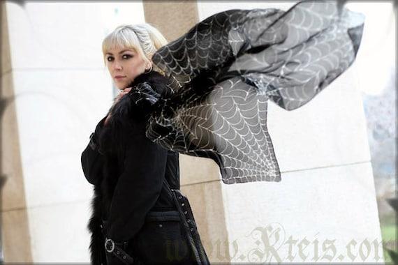 Black goth silk scarf with white spider web