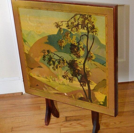 Vintage Folding Card Table Tilt Top W Country Scene