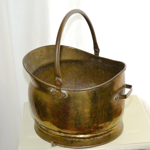Large Solid Brass Coal Shuttle Bucket Great By