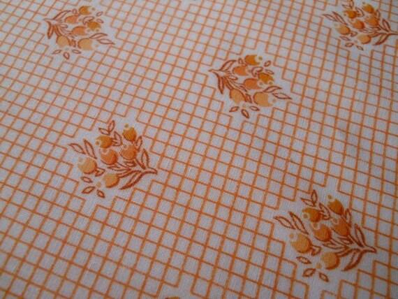 Orange Flower Print and Grid 70s Floral Print Fabric 4.3 yards