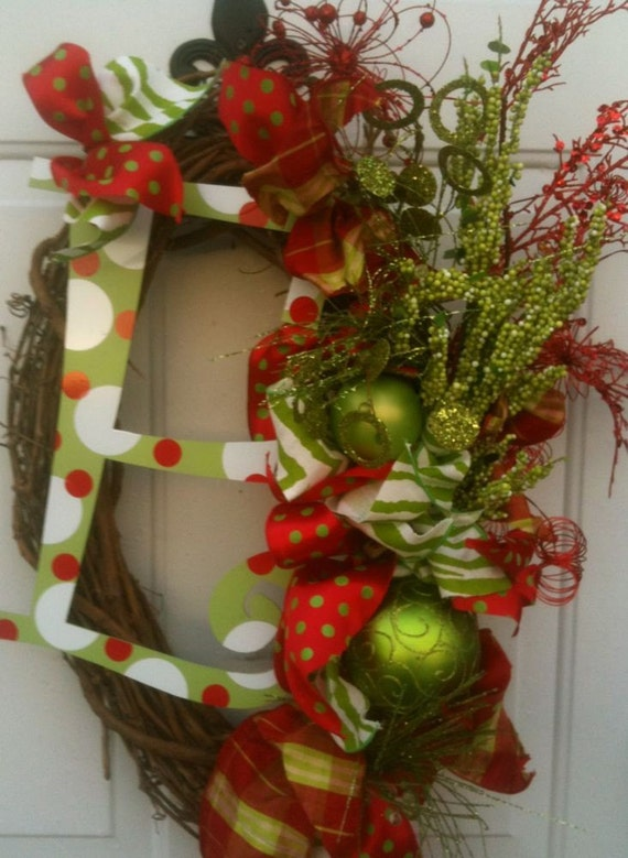 Christmas Holiday Wreath With Metal Letter Decor