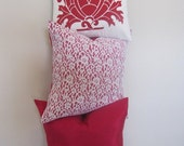 SALE...Pillow, Decorative Throw Pillow Cover,  White Lace and Raspberry Silk Moire Pillow Cover 17 x 17...last one