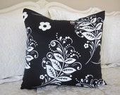 Pillow, Decorative Throw Pillow Cover, Designer Black and Off White Floral Branches Pillow Cover 18 x 18, 20 x 20, 22 x 22, 24 x 24