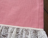 SALE...Table Overlay, Table Runner, Designer Slubby Basket Weave Petal Pink Lace Trimmed Table Overlay 36 x 58
