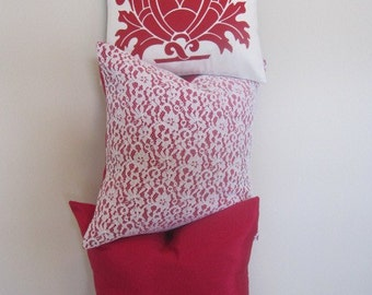 Pillow, Decorative Throw Pillow Cover,  White Lace and Raspberry Silk Moire Pillow Cover 17 x 17...last one