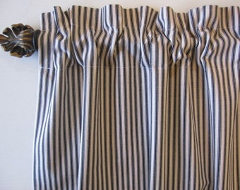 2 Curtains, Drapes, Window Curtains, Set of 2 Black Woven Cotton Ticking Stripe Curtain Panels 50 x 63, 72, 84, 96, 108