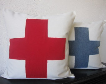 Pillow, Decorative Throw Pillow Cover, Off White and Red Swiss Cross Pillow Cover 20 x 20