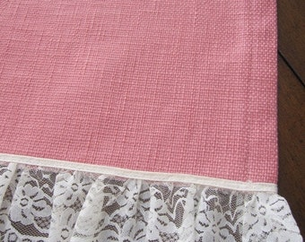 SALE...PERFECT For SPRING...Table Overlay, Table Runner, Designer Slubby Basket Weave Petal Pink Lace Trimmed Table Overlay 36 x 58