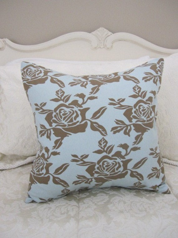 SALE...Pillow, Decorative Throw Pillow Cover, Designer Chocolate Rose and Spots Pillow Cover 16 x 16 in stock and ready to ship