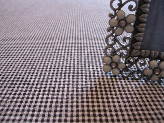 Tablecloth, Table Overlay, Designer Black and White Woven Gingham Tablecloth 54 x 54