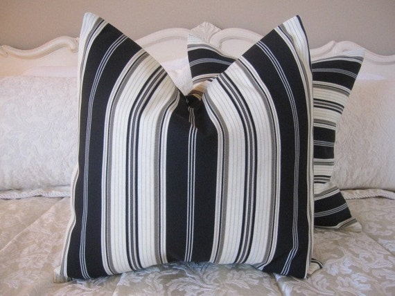 SALE...Pillow, Decorative Throw Pillow Cover, Designer Black Striped Indoor Outdoor Pillow Cover 20 x 20...last one
