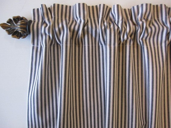 Black Woven Cotton Ticking Stripe Curtain Valance Or Cafe 50 X