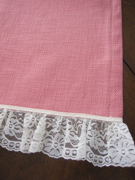 SALE...Table Overlay, Table Runner, Designer Slubby Basket Weave Petal Pink Lace Trimmed Table Overlay 36 x 58