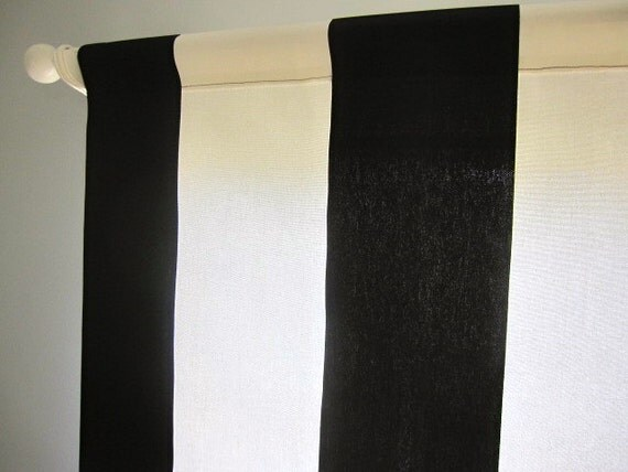 Curtain, Valance, Window Curtain, Black and Off White Wide Stripe Curtain Valance 50 x 16