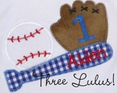 Baseball Birthday Shirt Appliqued Embroidered Custom Personalized Monogrammed First Second Third...long sleeve or short sleeve
