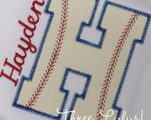 Baseball Letter Alphabet Shirt Appliqued Embroidered Custom Personalized Monogrammed