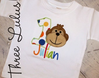 Monkey Circus...Zoo...Jungle Birthday Shirt Appliqued Embroidered Custom Personalized Monogrammed First Second Third