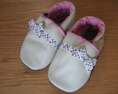 polka dot bow soft soled leather baby shoes, size 6-12 month baby girl's