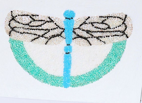 FREE SHIPPING (USA) : Fly Away Dragonfly, a Beadwork Painting