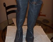 Grey Leather Frye 1980's Boots Size 7