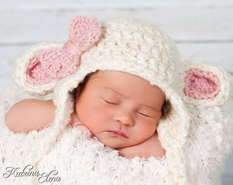 Baby Lamb Hat / Crochet Lamb Hat/ Easter Baby Hat/ Baby Girl Hat/ Newborn Photo Prop/ Lamb Hat/ Baby Sheep Hat