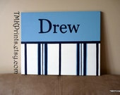 "The ""DREW' PERSONALIZED 16x20 canvas painting for childs nursery playroom bedroom or bath (custom made to match Pottery Barn ""Chase"")"