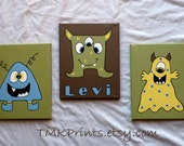 PERSONALIZED Set of 3 Friendly Monster 8X10 canvas paintings (made to order) for childs nursery bedroom playroom or bath